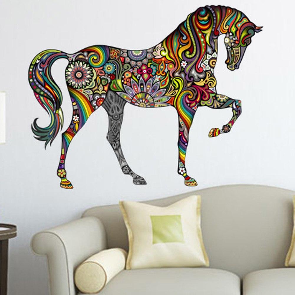 Paarden Sticker Muur.Muursticker Paard Met Bloemen Voordeelmuurstickers